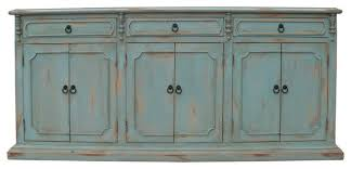 old world sideboard table distressed pale blue traditional