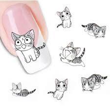grey cat nail art sticker u2013 freakypet