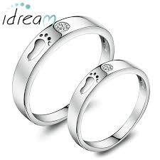promise ring engagement ring wedding ring set footprint promise rings for couples sterling silver open