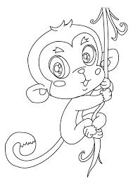squirrel monkey hanging tree coloring animal free