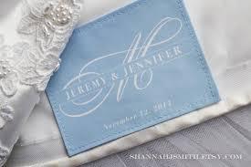 monogrammed wedding gift something blue monogrammed wedding dress label personalized