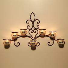 Candle Holder Wall Sconces Asense Hda012 Iron And Glass Horizontal Wall Hanging