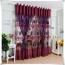 Amazon Curtains Bedroom Amazon Com Binmer Tm Window Curtains Leaf Hollow Window Screens