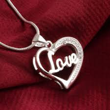 silver necklace with letters images 1pc lovely plated silver heart pendant necklace with letters love jpg