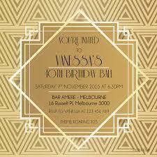 great gatsby printable invitation template gold classy digital