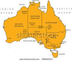 major cities of australia map detailed black orange outline map australia stock vector 388902523
