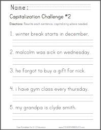 capitalization challenge 2 grammar worksheet for grade one