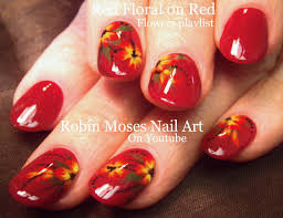 red with flowers nail art easy flowers design for short nails