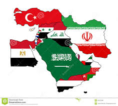 Middle East Map Labeled by Middle East Flag Map Stock Vector Image 49259386