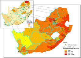 africa map test colour graded map indicating cd4 test volumes and laboratory to