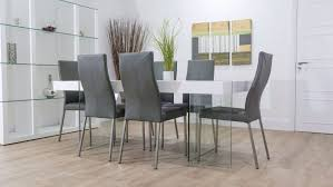 chair grey leather dining room chairs alliancemv com cream table