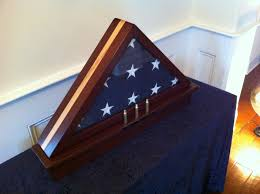 Triangle Flag Case Memorial Flag Display Case With Shell Casings Cherry W Maple