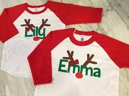 girls christmas shirt with red glitter bow girls reindeer