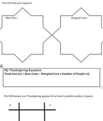 math linear equation thanksgiving dinner project for algebra 1