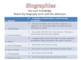 biography definition and characteristics let s get personal biographies and autobiographies ppt download