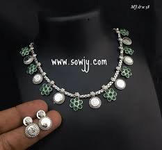 emerald stone necklace jewelry images Simple and trendy silver plated lakshmi coin necklace and earrings
