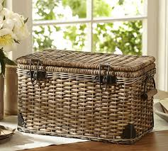 large wicker baskets with lids daytrip lidded large basket pottery barn au