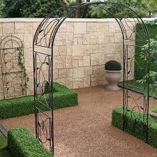 Arbors And Trellises Coral Coast Willow Creek Metal Arbor Black Hayneedle