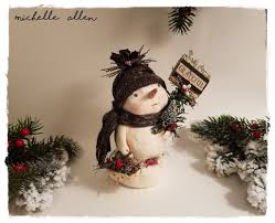 folk art paper clay holiday winter grateful snowman doll sculpt
