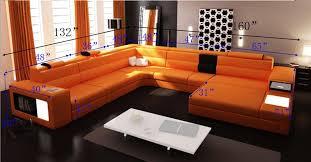 orange leather sectional sofa modern italian design polaris sectional sofa tos lf 2205 gm orange