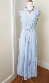 light blue and white striped maxi dress j crew light blue white woven tassle striped long maxi dress size
