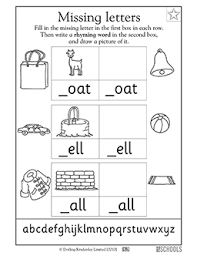 kindergarten preschool reading writing worksheets missing
