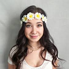 white flower headband blue flower headband flower crown hippie from sawu awesome