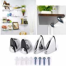 polished chrome glass shelf support clamp brackets bathroom for