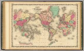 Geography Of Virginia World Atlas by Of The World On Mercator U0027s Projection Johnson A J 1860