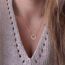 short charm necklace images New women trendy necklaces fashion simple gold plated circle jpg