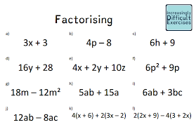 see below for factorising quadratics