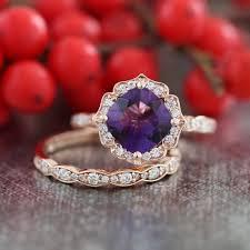 amethyst engagement rings rose gold wedding set amethyst engagement ring and scalloped