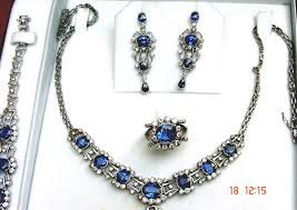 blue sapphire necklace set images Blue rhinestone multi sapphire wedding necklace earrings sets jpg