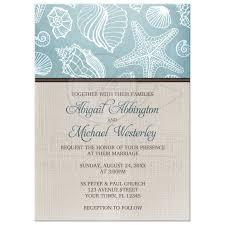 invitations rustic beach seashells linen