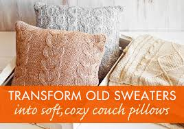 how to recycle a sweater into a throw pillow inhabitat green