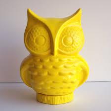 Owls Home Decor Owl Bank Vintage Design Lemon Yellow Retro Home Decor Ceramic