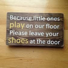 no shoe sign rustic wood shoe sign small sign
