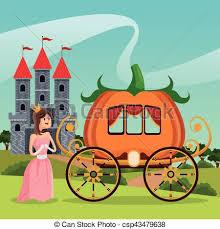 Pumpkin Carriage Vectors Of Princess Pumpkin Carriage Castle Landscape Vector