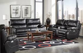 Power Reclining Sofa And Loveseat by Sheridan Black Collection 427 Power Recliner With Power Headrest