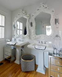 His And Her Bathroom Floor Plans Splashy Bassett Mirror In Bathroom Transitional With Basket