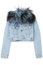 light blue cropped jean jacket prada women s cropped feather trimmed denim jacket light blue denim