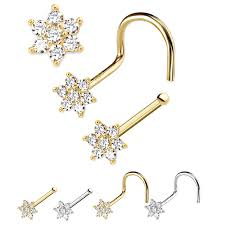 nose rings images Solid gold cz flower nose ring jpg