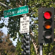 california red light law no right turn when children are present a law in california