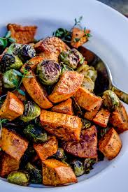 roasted sweet potatoes brussels sprouts garlic olive