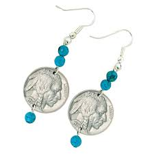 nickel earrings buffalo nickel turquoise coin earrings coin jewelry