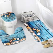 Bathroom Contour Rug Flannel Starfish Pattern Toilet Rug Bathroom Contour Mat Non Slip