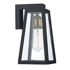 retro outdoor light fixtures tapered matt black outdoor wall lantern with clear glass ip43