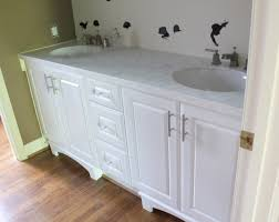 Laminate Flooring For Bathroom Large White Wooden Vanity Having Marble Top And Double Round Sink