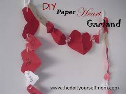 the do it yourself mom diy paper heart garland valentine u0027s day