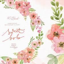wedding flowers clipart sweet boho watercolor clipart boho flowers clipart wedding